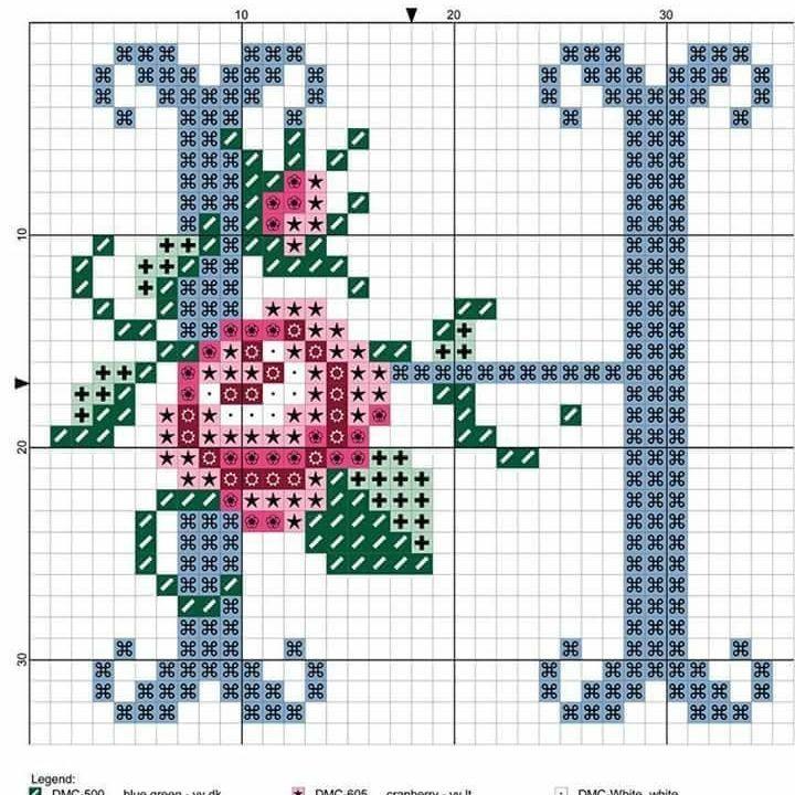 etamin harf şablonu çiçekli